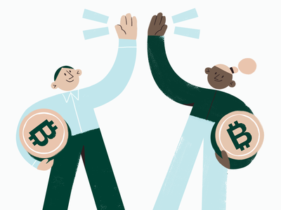Refer a friend texture crypto bitcoin character branding flat web illustration