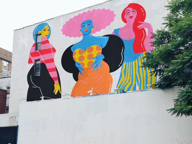Other Women pt 4: mural mockup murals illustrator fashion play colorful lady texture mural design girl ladies mural hair illustration