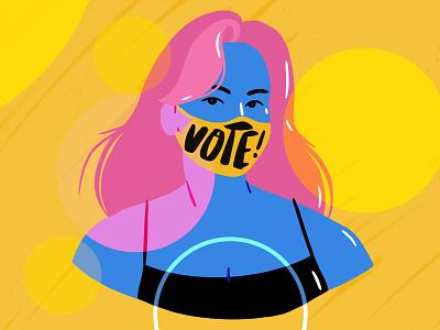 Vote! masking blue woman photoshop procreate character bright colorful illustration girl mask usa vote