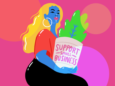 Support Small Business! brand illustration draw woman procreate illustrate small biz shop small houseplants plant lady 2020 lockdown covid 19 covid hair colorful illustration