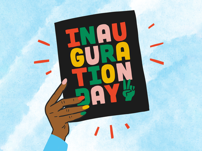 Inauguration Day! politics gif illustrate procreate celebrate 2021 president biden hand lettering texture colorful illustration inauguration