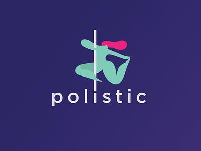 Polistic alternative logo design dance studio powerful female identity neon hair woman fitness pole logo