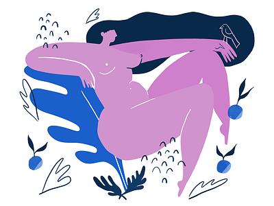 Procreate sketch body positivity feminine ipad procreate bird play hair colorful lady texture illustration