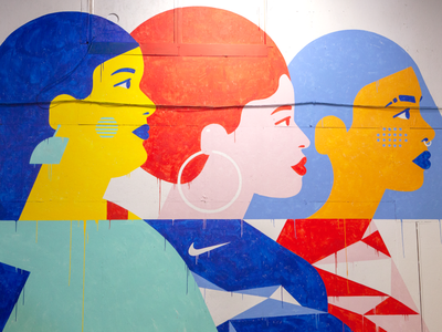 Nike Mural woman diverse illustration profile geometric paint painting colorful scrappy strong women design mural