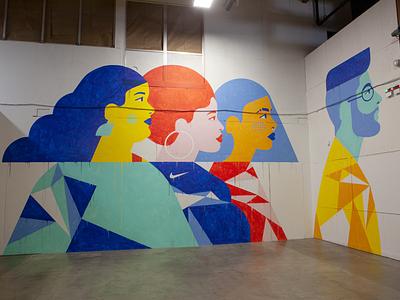 Nike mural pdx portland workspace diverse character design people hair illustrator design geometric painting mural design mural texture colorful illustration