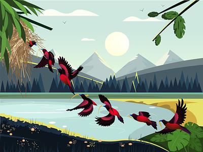Bird's nest flat ui illustration design