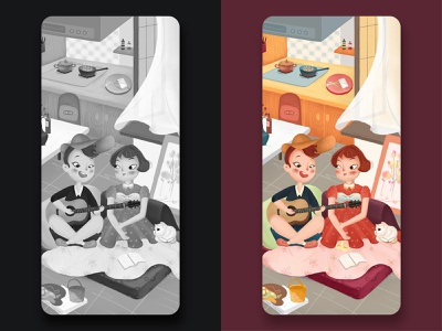 Valentine's Day ui app design illustration