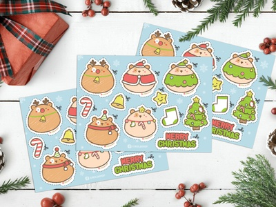 Merry Christmas sticker set illustration cute art christmas cute sticker design sticker