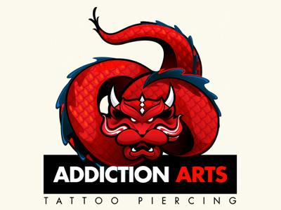 Logo Addiction Arts - Tattoo Piercing logo addiction arts tattoo piercing vector vetor ai dragon red jonatas azzolini