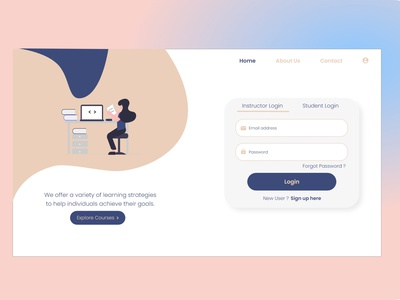 Login Page course login form login page login courses learning platform learning app learn elearning courses elearning adobe xd web minimal ui design