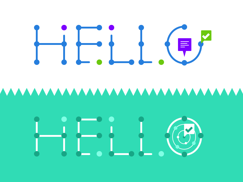 Hello Branding flat simple basic branding brand dots illustration hello