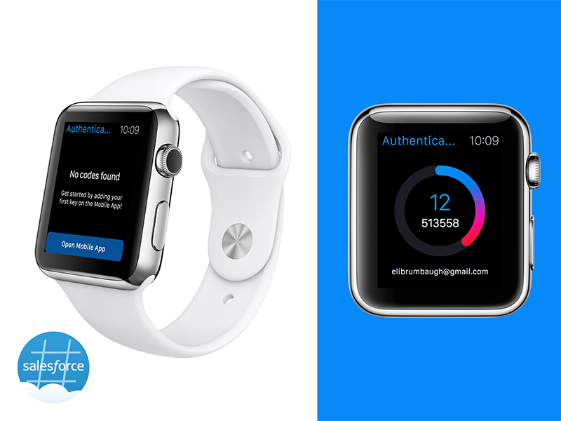 Salesforce Authenticator for Apple Watch design flat ui security codes countdown timer app watch apple authenticator salesforce