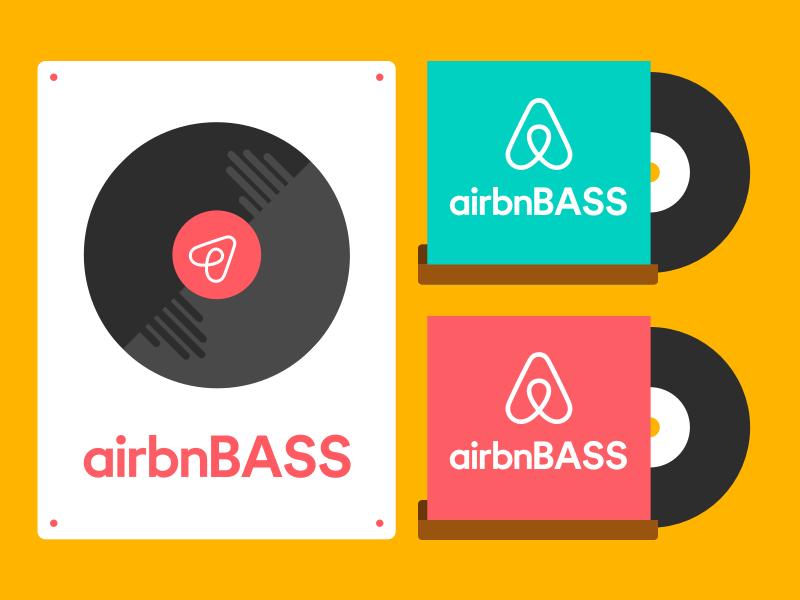 airbnBASS record shelf logomark records record poster airbnb illustration