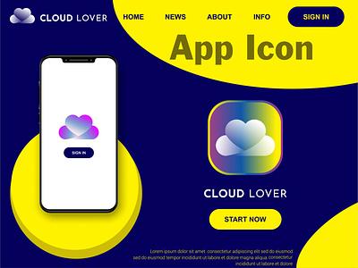 Cloud Lover Icon Logo Design ux ui illustration illustrator flat logo vector design business logo branding