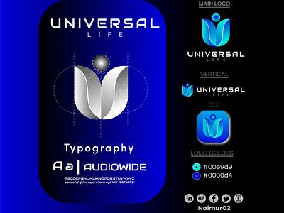 Universal Life Logo Design Presentation ui ux illustration illustrator flat logo vector design business logo branding