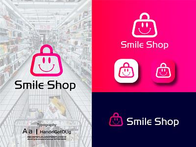 Smile Shop Logo Design ui ux illustration illustrator flat logo vector design business logo branding