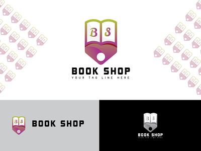 Book Shop Logo Design ui ux illustration illustrator flat logo vector design business logo branding