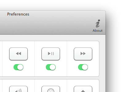 Setting buttons in menubar mac app preferences keys