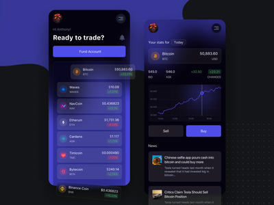 Crypto Exchange Wallet Mobile App dark dark app mobile ui invest mobile app app bitcoin chart graphic card finance trading crypto wallet cryptocurrency wallet blockchain banking minimal ux mobile