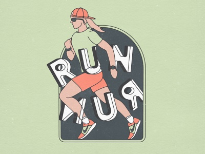 'RUN' Illustration exercise fitness runner run outdoors lettering branding design illustration running shoes running