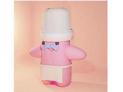 Little chef cute minimal design illustration blender3d 3d art