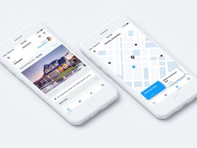 Real Estate App app mobile ux ui properties ios map real house estate
