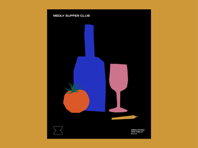 Medly Supper Club Dinner Poster branding cannabis poster illustration