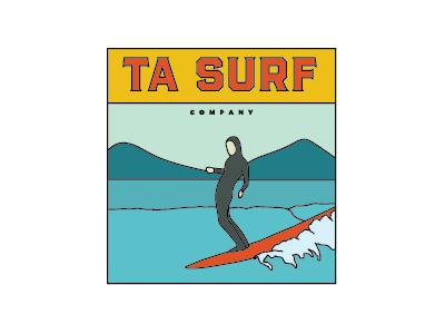 TA Surf Co. Logo Concept 2 illustration design illustrations waves ocean alaska logos surfing illustration surf logo logo surf company surf