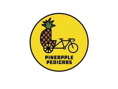 Pineapple Pedicabs Logo logomark reno badge pedicab pineapple logo
