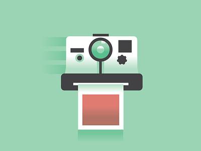 Flat Polaroid picture sketch camera illustration