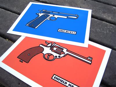 Allied Pistols halftone prints illustration guns 1940s british american allies ww2 world war ii