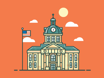 Marion Courthouse america illustration building government city usa mississippi