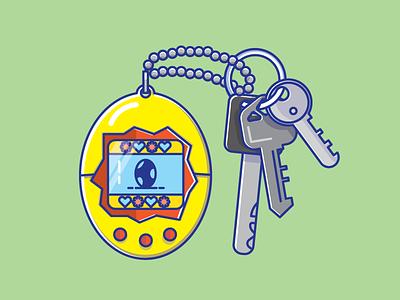 Tamagotchi toy pet tech illustration 90s