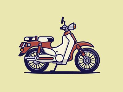 Honda Super Cub honda 60s 50s bike illustration japan motorbike