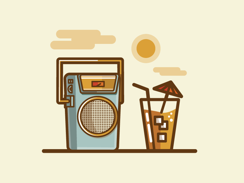 Summer Sony vacation summer drink radio sony illustration