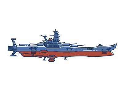 Space Battleship Yamato anime animation mechanical sci-fi space 70s illustration