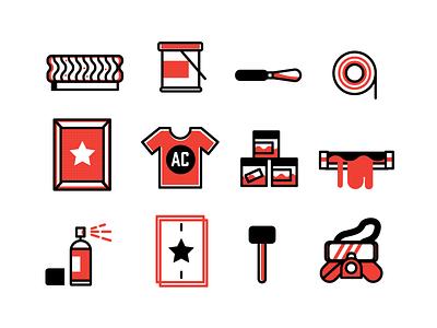 Screen Printing Icons printing tools illustration icons screen printing