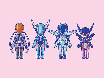 Knight Sabers japan animation cyberpunk scifi 80s illustration