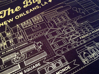 New Orleans Map Print ink gold new orleans nola map illustration screen print