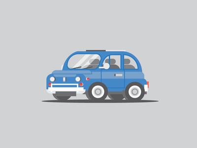 Fiat 500 blue italy vehicle illustration car