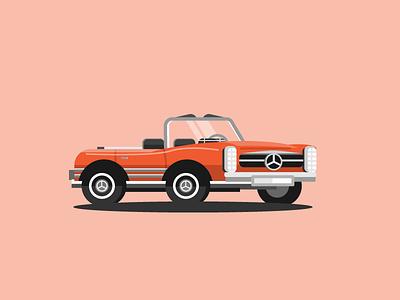 Mercedes-Benz W113 orange german vehicle illustration car