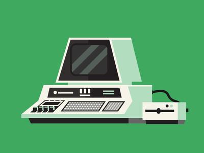 Commodore PET retro commodore green 70s illustration computer