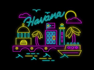 Havana glow 80s city light illustration latin cuba neon
