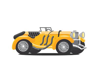 Mercedes-Benz SSK 1930s 1920s yellow german vehicle illustration car
