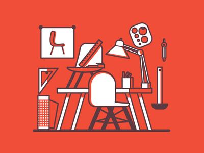 Chair Designer furniture studio design modern editorial illustration
