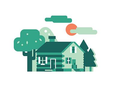 Green Log Cabin forest cabin house building editorial illustration