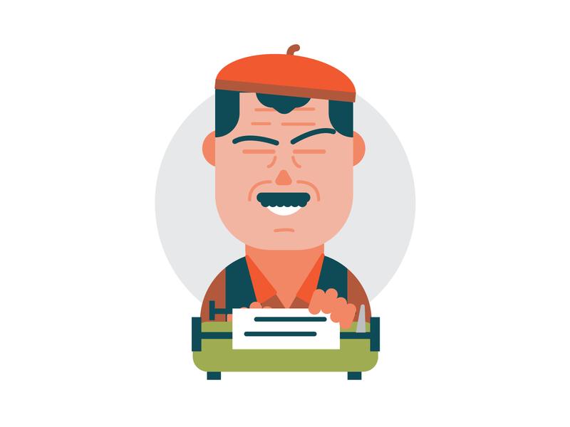 Hemingway writer literature portrait editorial illustration