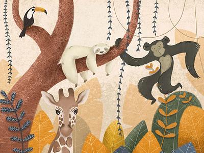 Zoology sloth toucan monkey animals childrens illustration poster design illustrator digital painting illustration