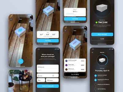 AR: Shipping box shipping camera augmented reality ios mobile ux ui apple pay app