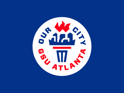 """Georgia State University """"Our City"""" flame torch university atlanta georgia brandidentity branding logodesign badgedesign"""